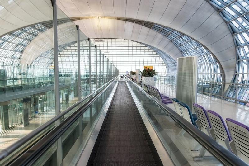 Auto escalator walkway to front and modern interior design royalty free stock image