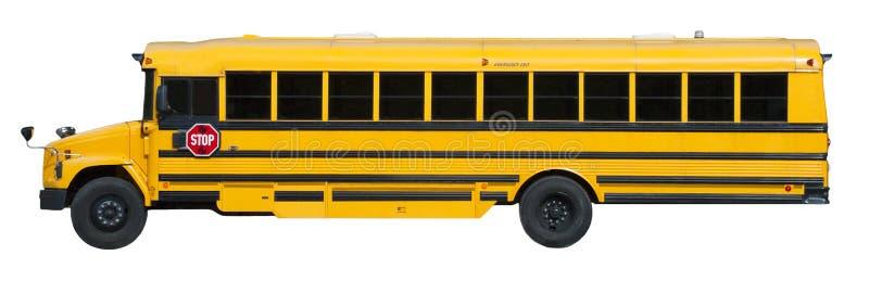 Auto escolar amarelo típico isolado no branco foto de stock