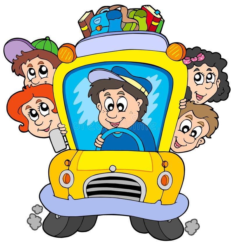 Auto escolar com crianças ilustração do vetor