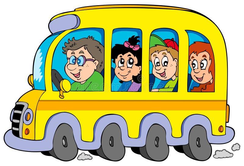 Auto escolar dos desenhos animados com miúdos ilustração stock