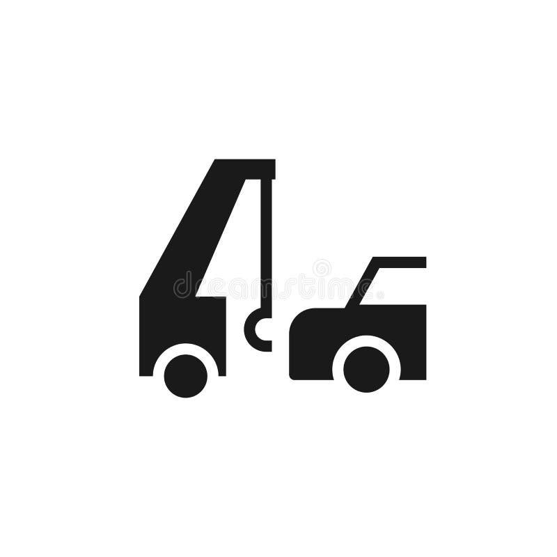 Auto, evacuatie, verzekering, slepend pictogram - Vector De vectorillustratie van het verzekeringsconcept royalty-vrije illustratie