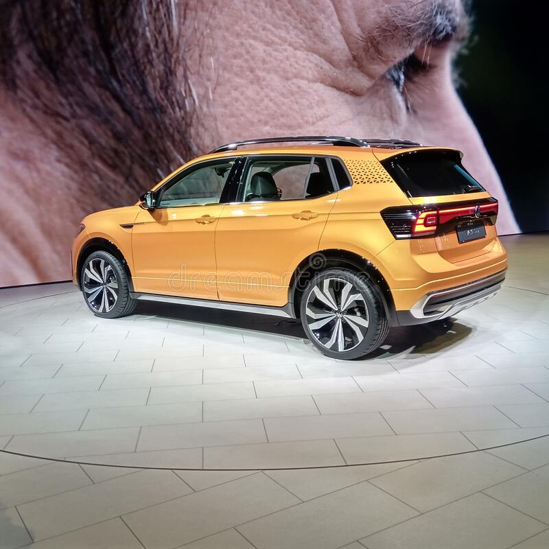 Volkswagen Taigun, Auto Expo 2020, Greater Noida, India. GREATER NOIDA, INDIA - FEBRUARY 7, 2020: Volkswagen Taigun SUV is on display at Auto Expo 2020 at stock image
