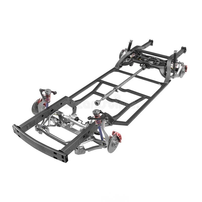 Auto-Fahrgestelle auf Weiß Abbildung 3D stock abbildung