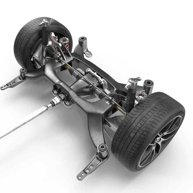 Auto-Fahrgestelle auf Weiß Abbildung 3D lizenzfreie abbildung