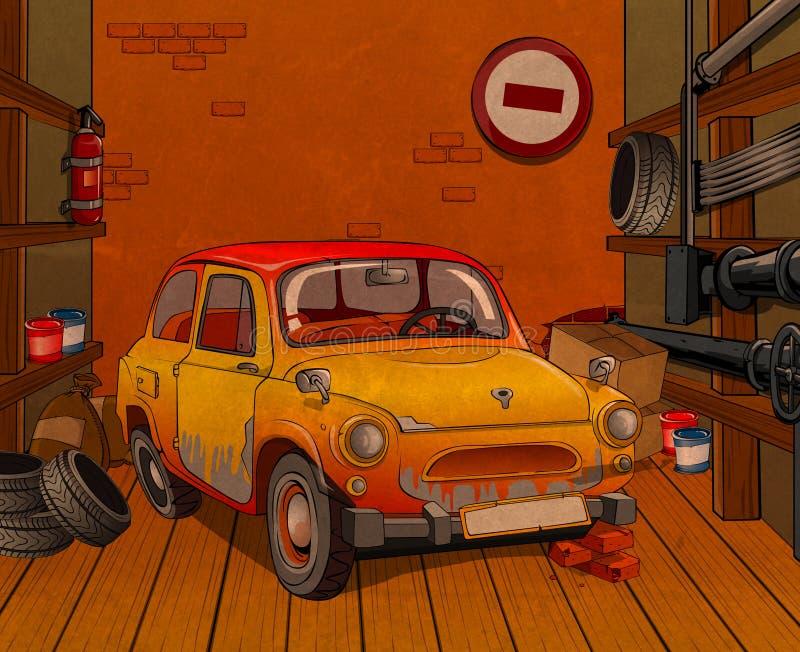 Auto in garage stock illustratie