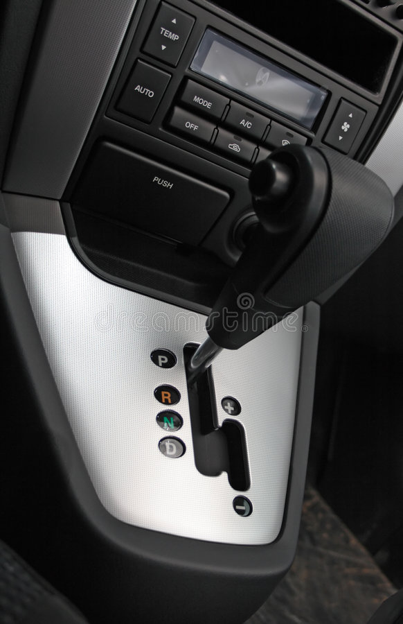 Auto gear shift handle. Closeup royalty free stock images