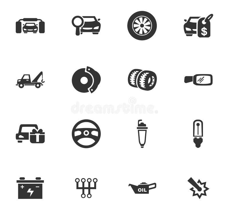 Auto geplaatste pictogrammen stock illustratie