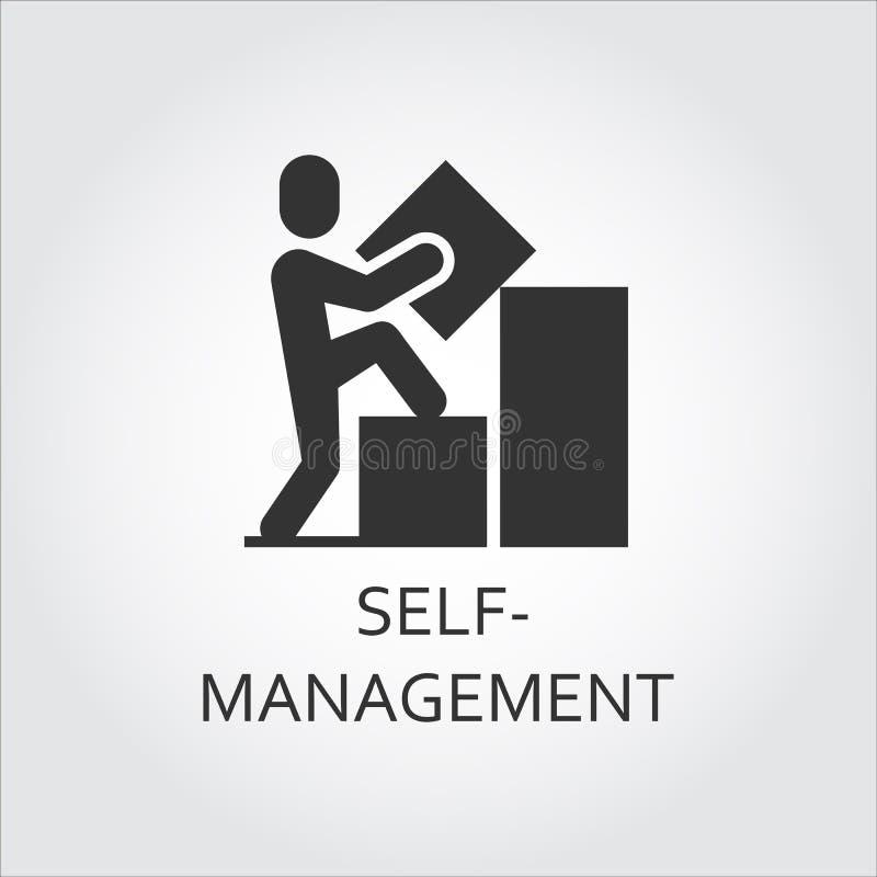 A auto-gestão lisa preta do ícone do vetor como o homem constrói o gráfico ilustração stock