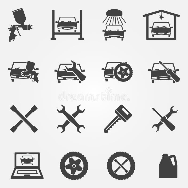 Auto grupo do ícone do serviço e do reparo ilustração do vetor