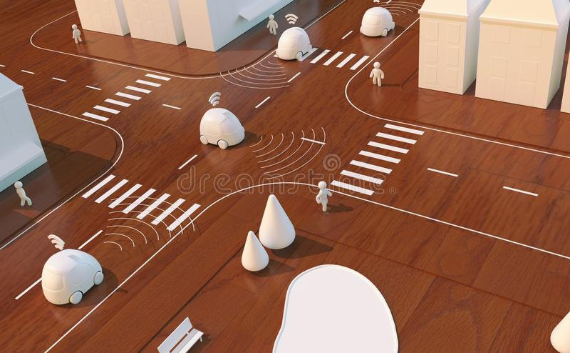 Auto-guidando le automobili - animazione 3D fotografia stock libera da diritti