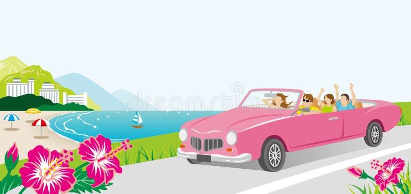 Auto het drijven in de Kustweg - Jonge groepsmensen royalty-vrije illustratie