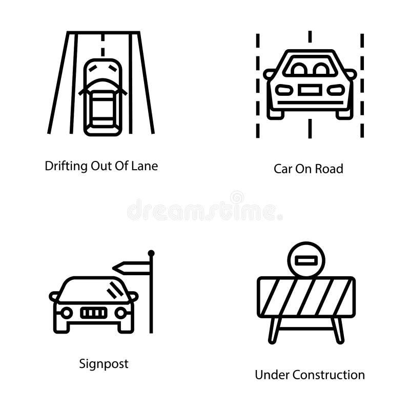 Auto het Drijven Lijnvectoren royalty-vrije illustratie