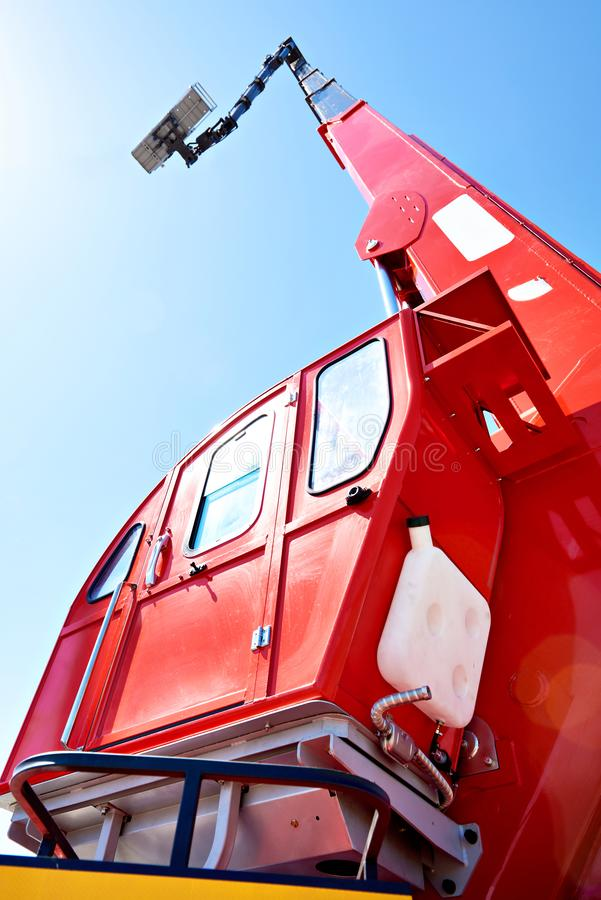 Auto hydraulic lift. On sky background royalty free stock photos