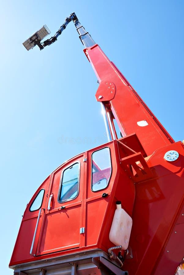 Auto hydraulic lift. On sky background stock photos