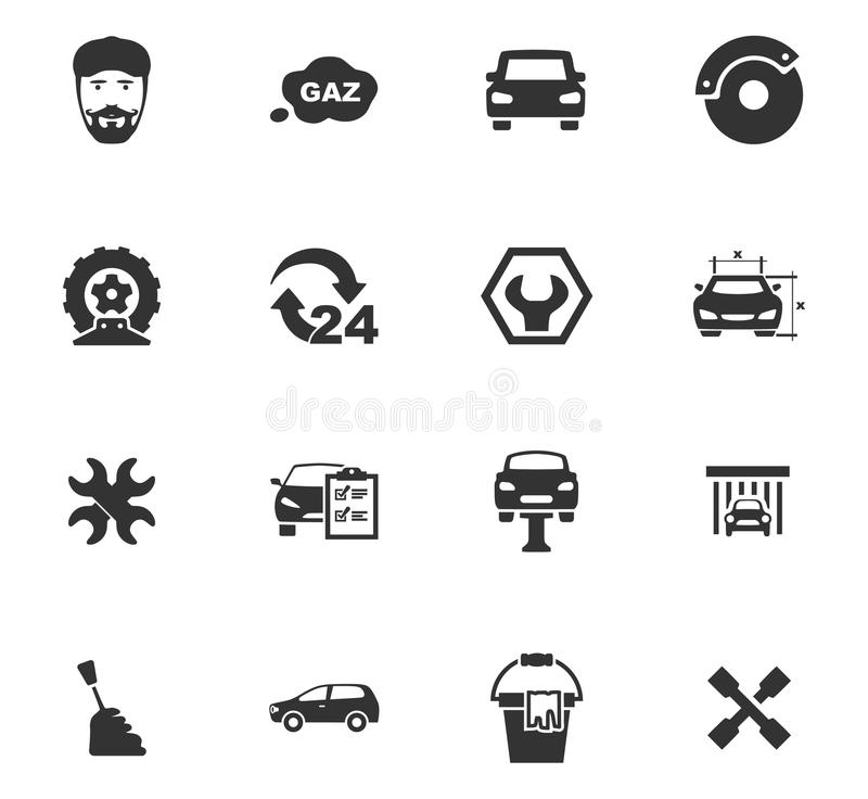 Auto icons set. And symbols for web user interface royalty free illustration
