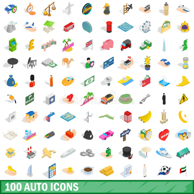 100 auto ikon ustawiających, isometric 3d styl ilustracji