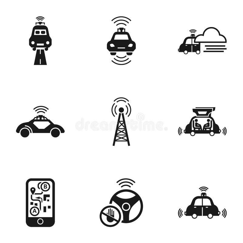 Auto-Ikonensatz der Stadt driverless, einfache Art stock abbildung