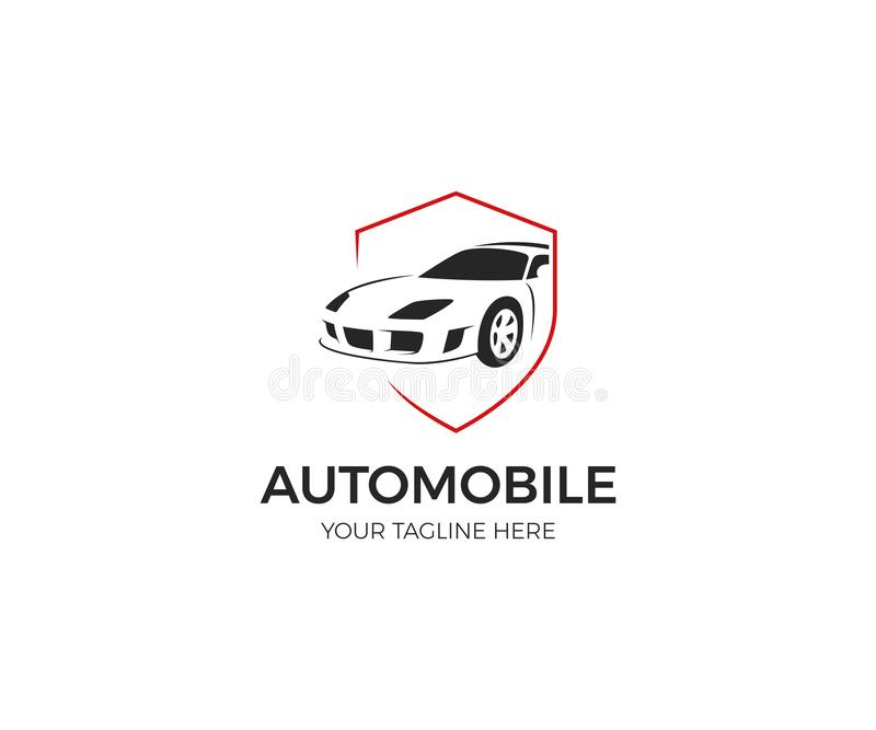 Auto im Schild-Logo lizenzfreie abbildung