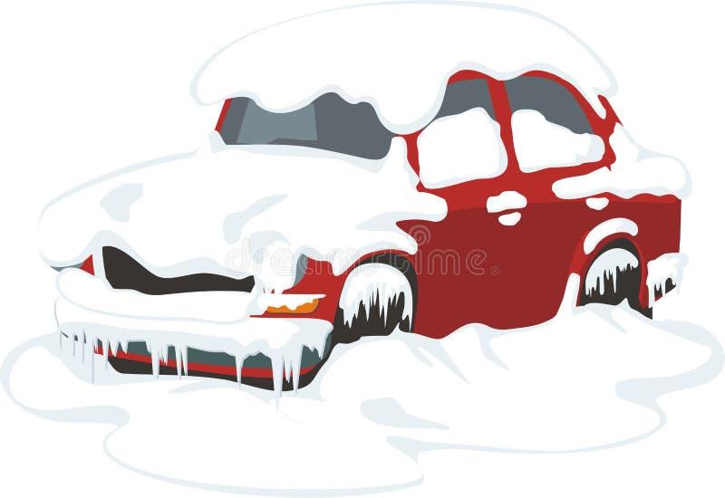 Auto im Schnee lizenzfreie abbildung