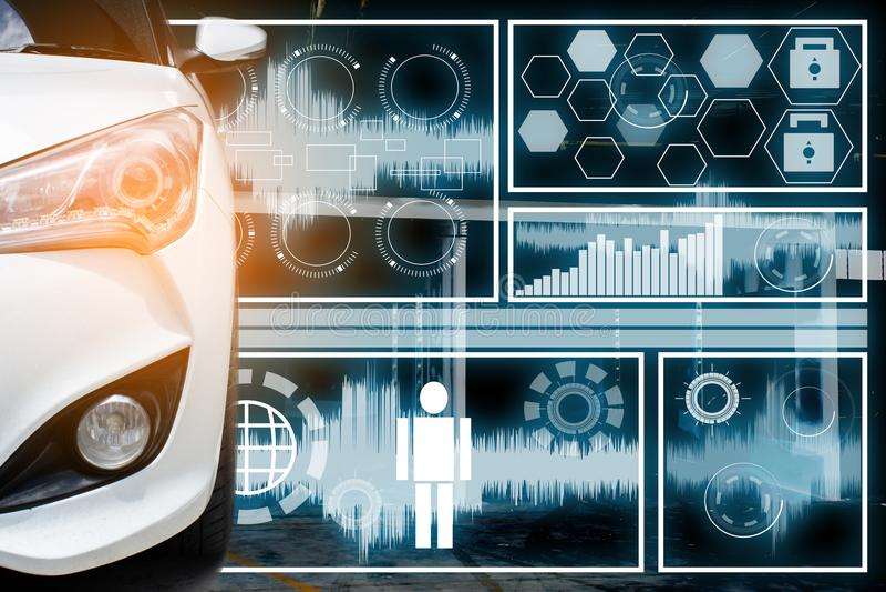 Auto im Technologietoilettenlabordatenradar polar lizenzfreies stockbild