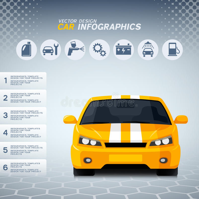 Auto info graphics with generic sports car and service icons stock illustration