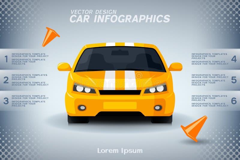 Auto information-diagram med generiska sportbil- och vägkottar vektor illustrationer