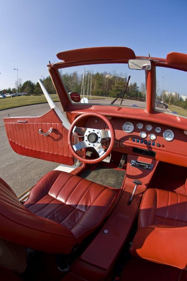 Auto interior de couro vermelho foto de stock