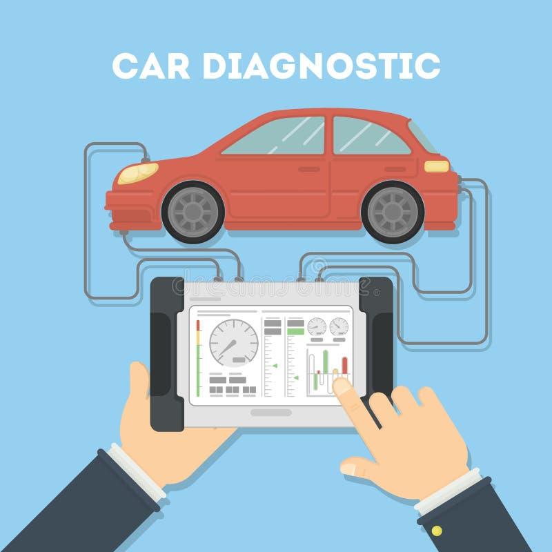 Auto kenmerkend met tablet vector illustratie