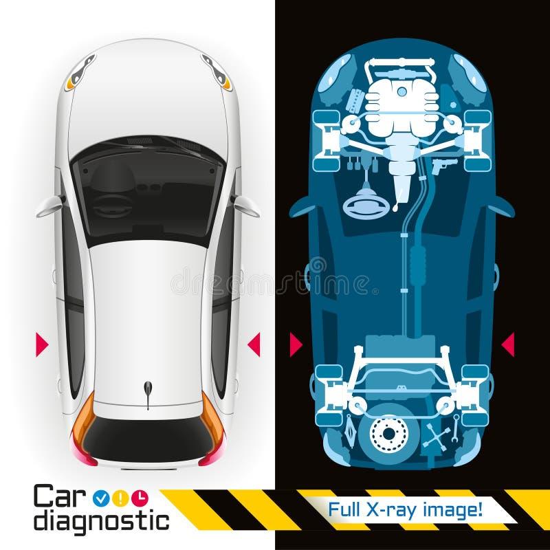 Auto Kenmerkende Volledige Röntgenstraal vector illustratie