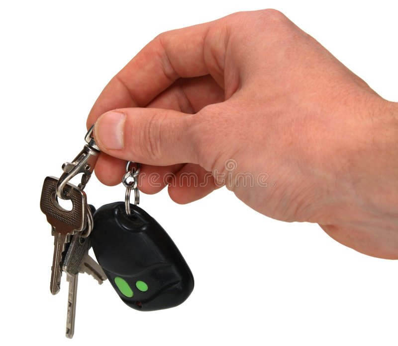 Auto keys in hand stock image