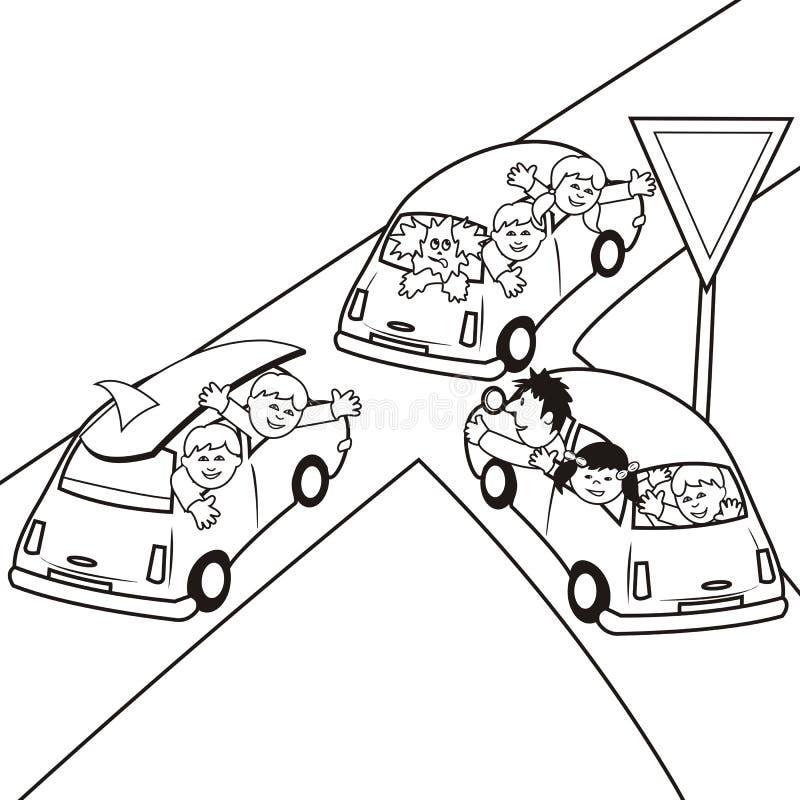 Auto-kleuring-boek stock illustratie