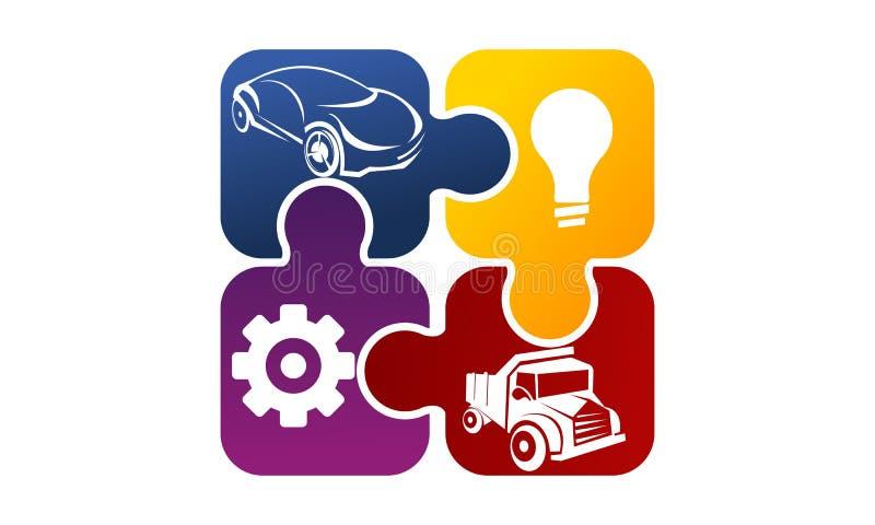 Auto lösning Logo Design Template stock illustrationer