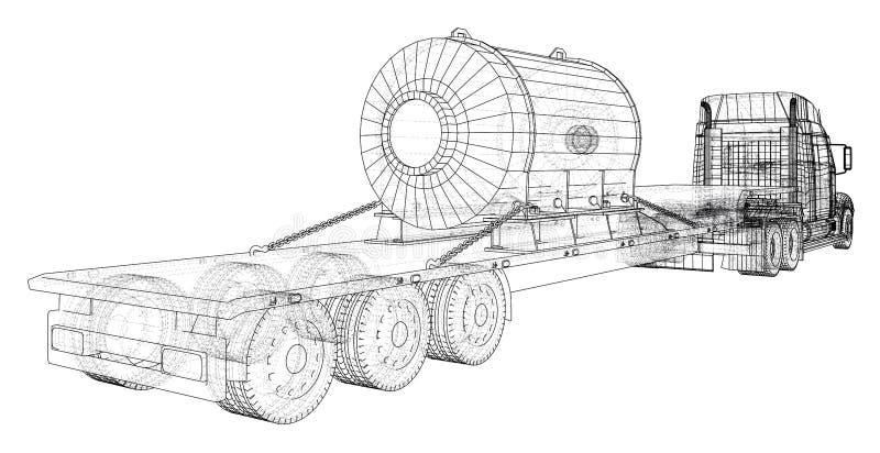 Auto-Lieferungs-halb LKW-Anhänger Frachtfahrzeug Format EPS10 Vektor-Wiedergabe von 3d lizenzfreie abbildung