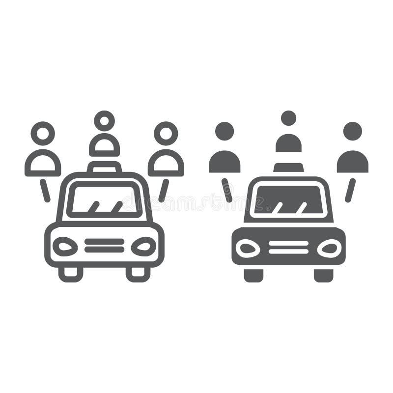 Auto lijn en glyph pictogram delen, auto en mensen, automobiel teken die, vectorafbeeldingen, een lineair patroon op een wit stock illustratie