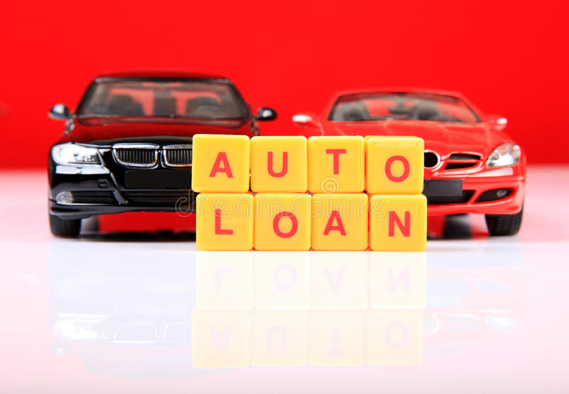 Auto loan. Concept image of auto loan with red background