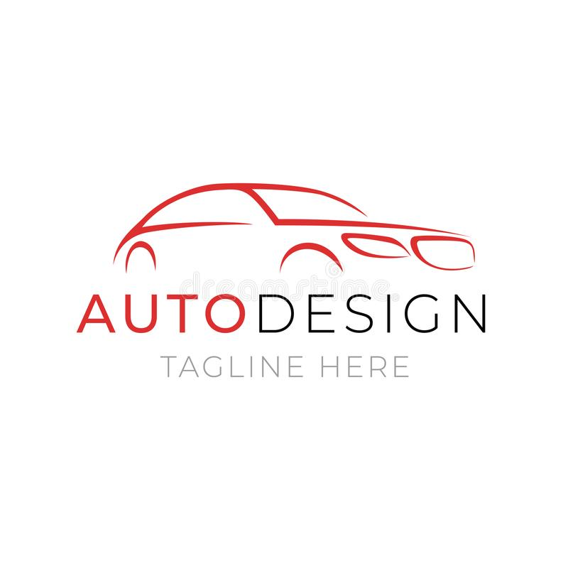 Auto logo template. Car service or dealer shop icon design with line silhouette vehicle on white background. royalty free illustration