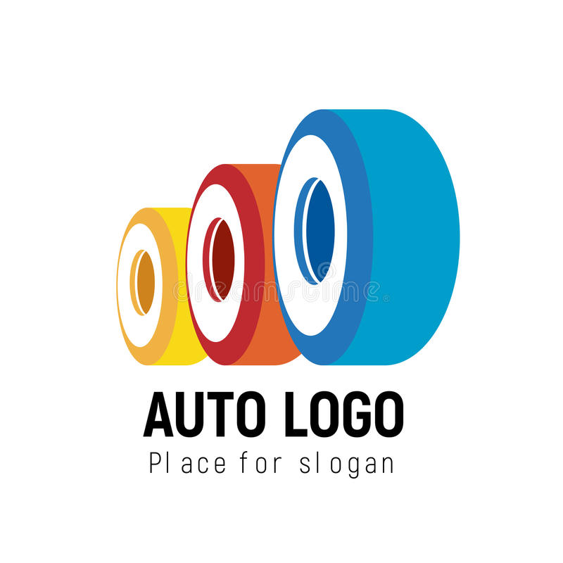 Auto logomall Logotypbil stock illustrationer