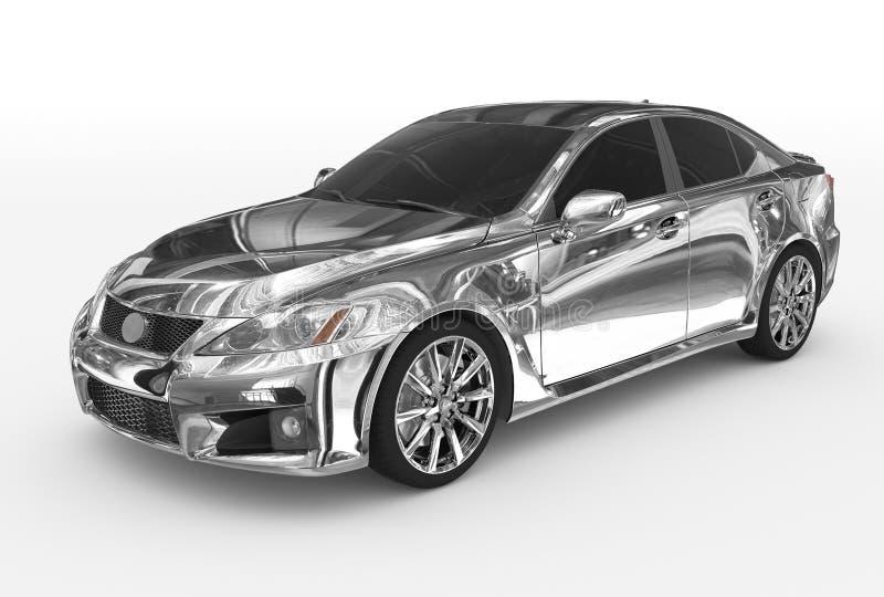 Auto lokalisiert auf weiß- Chrom, abgetöntes Glas - vorder-linke Seite V lizenzfreie abbildung