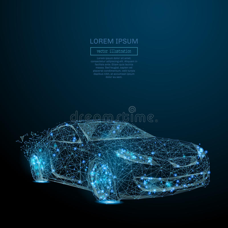 Auto low poly blue. Abstract image of a auto in the form of a starry sky or space, consisting of points, lines, and shapes in the form of planets, stars and the royalty free illustration