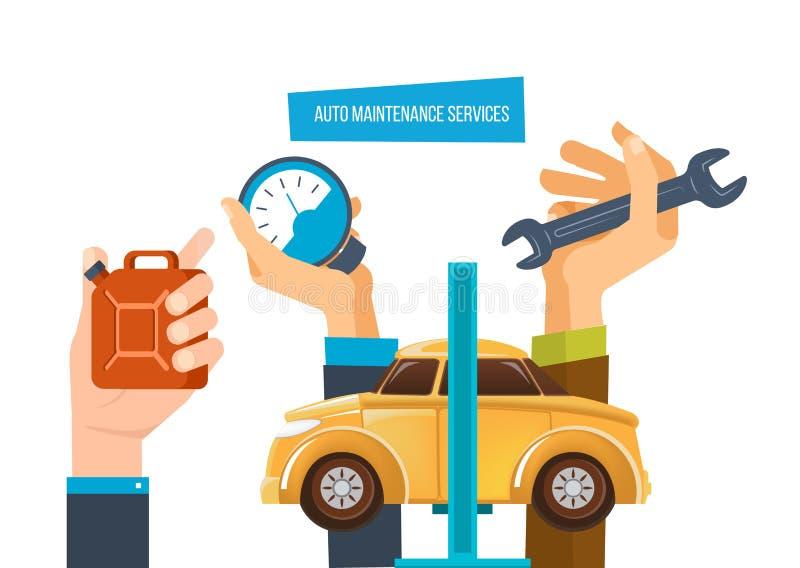 Auto maintenance services. Car diagnostic, auto maintenance test, diagnostics center. vector illustration