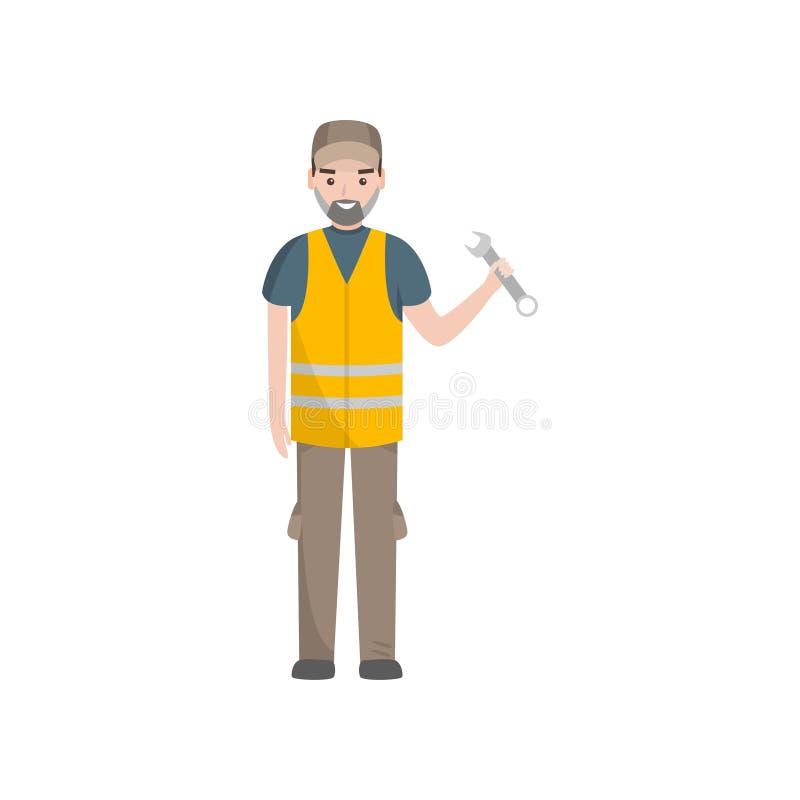 Auto mecânico profissional Character na ilustração do vetor da veste da segurança ilustração stock