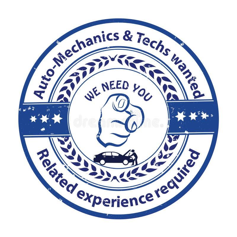 Auto mecânicos e tecnologias necessários ilustração do vetor