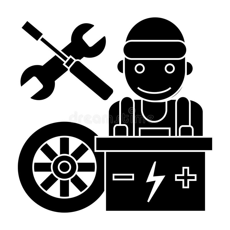 Auto mechanic - battery wheel - screwdriver and wrench icon, vector illustration, black sign on isolated background. Auto mechanic - battery wheel - screwdriver vector illustration