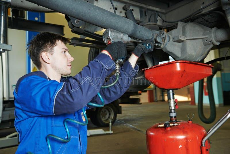 Auto mechanic disassembling axle royalty free stock image