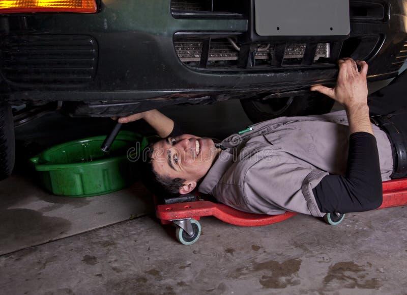 Auto Mechanic Oil Change stock image