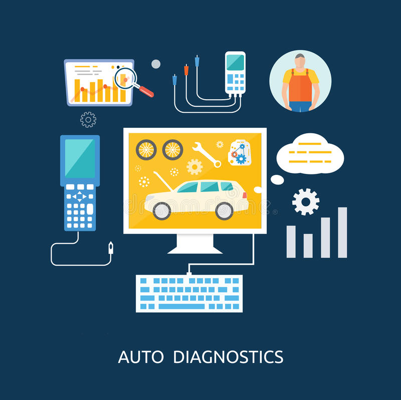 Auto mechanic service flat icons of maintenance vector illustration