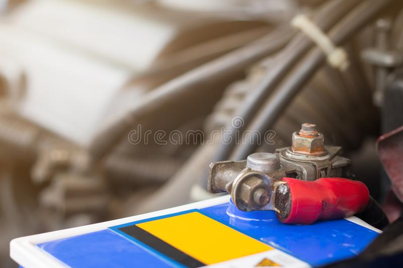 Auto mechanic with tool working check and fixed an old car engine at service station,change and repair before drive royalty free stock photos
