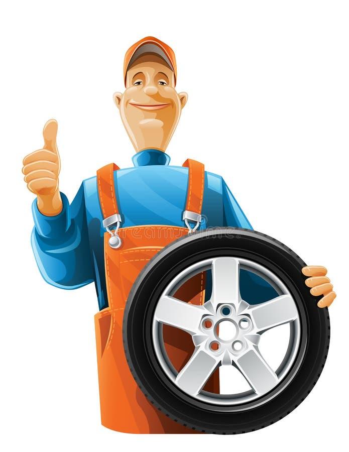 Auto mechanic with wheel. Illustration isolated on white background stock illustration