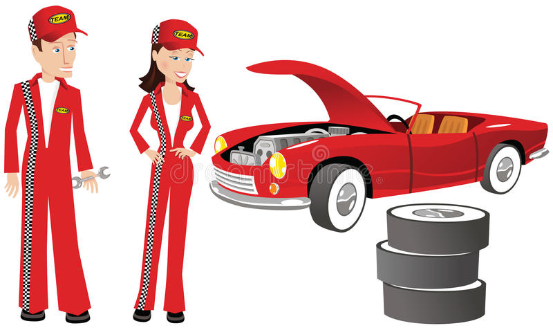 Auto mechanics and racing car. Two auto mechanics fixing a race car. E.P.S. 10 vector file included with image, isolated on white royalty free illustration