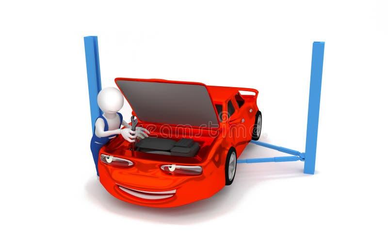 Auto mechanik - silnik naprawa royalty ilustracja